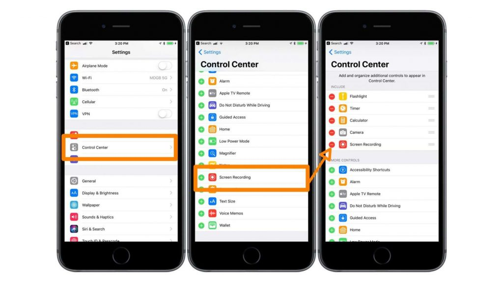 registrare lo schermo con iOS 11 impostazioni