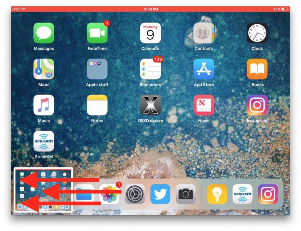 nascondere l'anteprima degli screenshot swipe