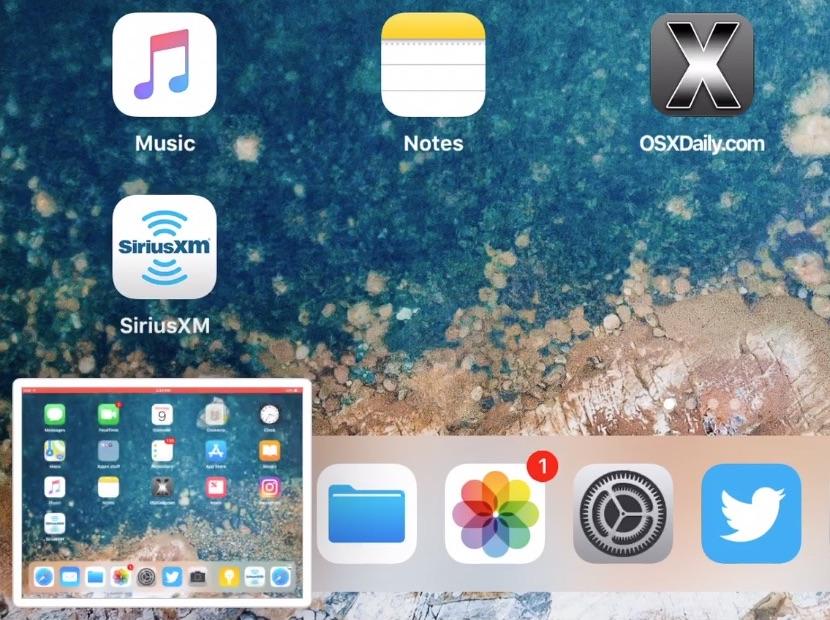nascondere l'anteprima degli screenshot iPad