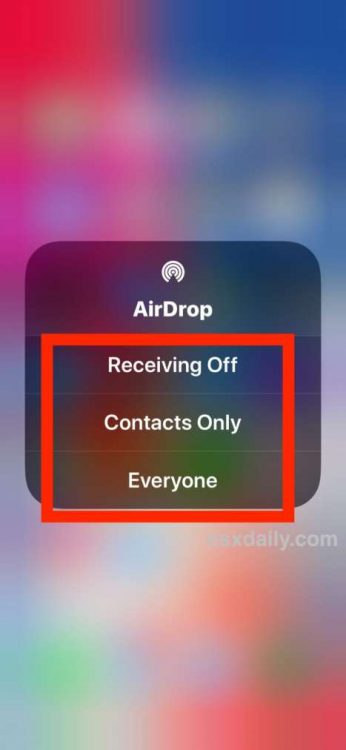 Accedere ad Airdrop dal Control Center