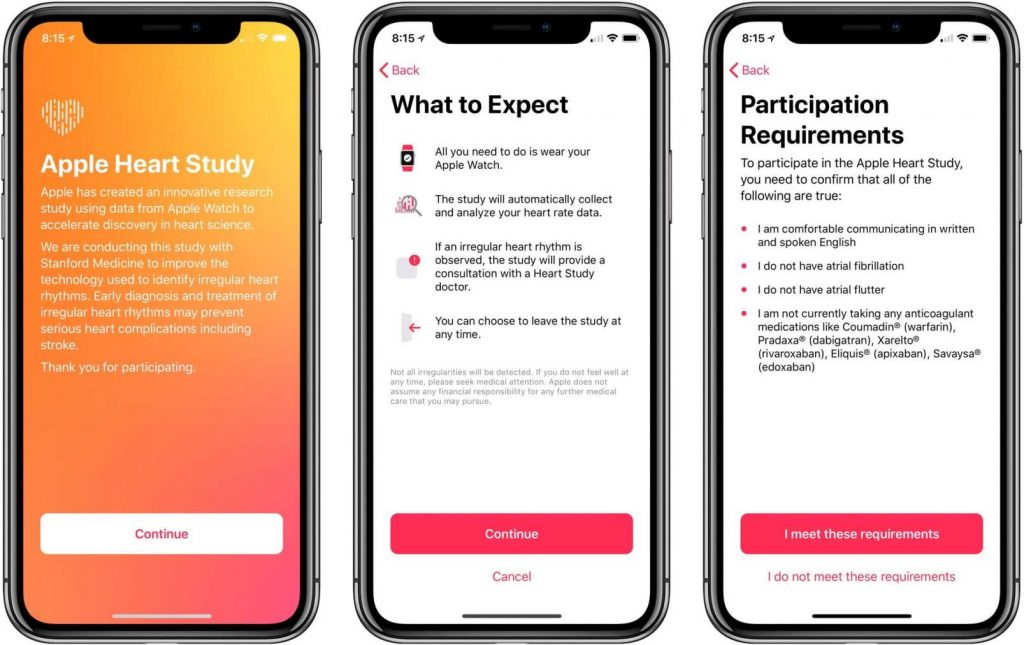 immagini Apple Heart Study