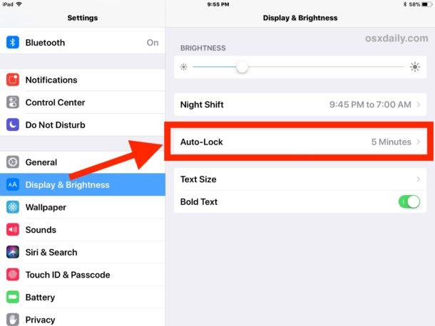 disattivare lo schermo su iPad luminosità