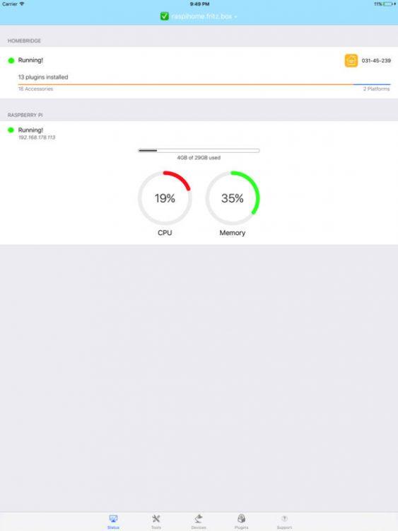 Homebridge for RaspberryPi iPad