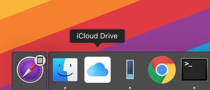 iCloud Drive nel dock