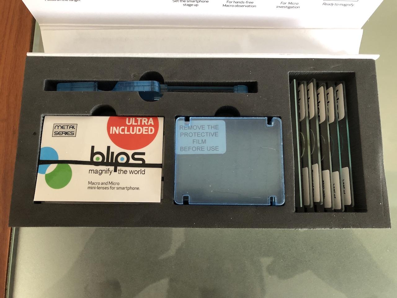 Composizione interna scatola lenti Blips