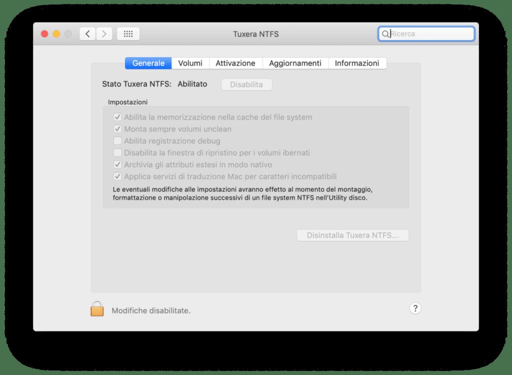 Tuxera NTFS impostazioni