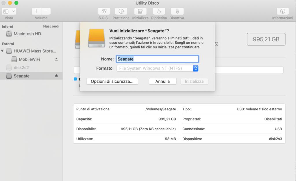 Tuxera NTFS inizializza