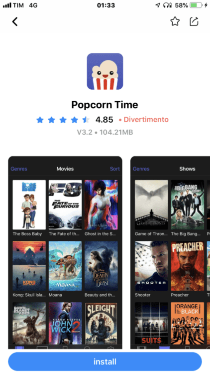 Netflix gratis su iPhone download Popcorn Time