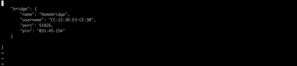 file di configurazione di Homebridge