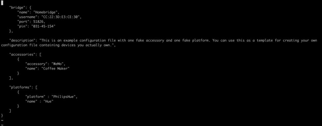 file di configurazione di Homebridge 2