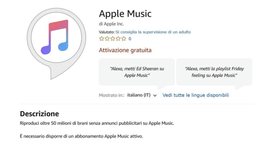 Ascoltare Apple Music con Alexa, adesso anche in Italia.