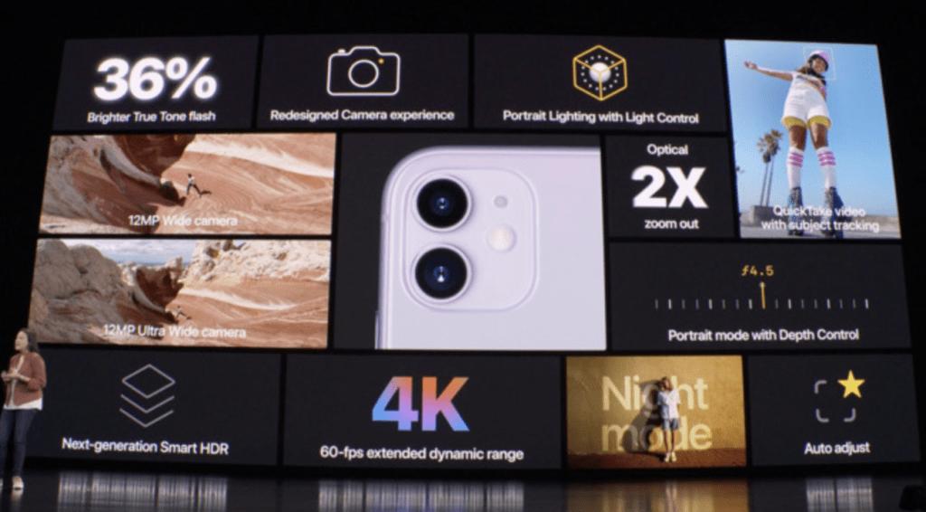 Dual Camera iPhone 11: Le sue capacità di fotografia computazionale le consentono di continuare ad offrire scatti di ritratto. Sono inoltre disponibili una modalità HDR e capacità di registrazione video 4K.