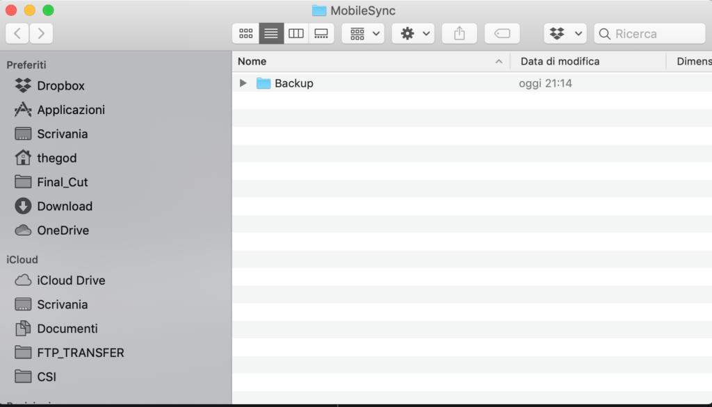 come spostare un backup di iPhone