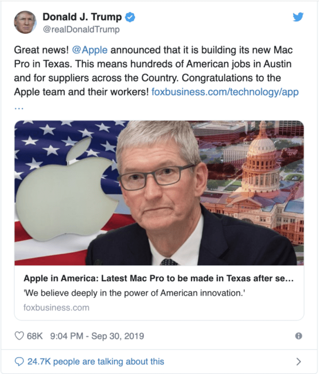 Apple pagherà i dazi su 5 componenti del Mac Pro, ma lo assemblerà in Texas.