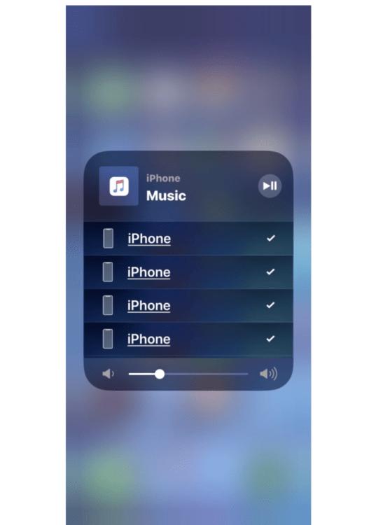 accedere ai controlli audio: Dispositivi audio AirPlay mostrati nel Centro di controllo iOS