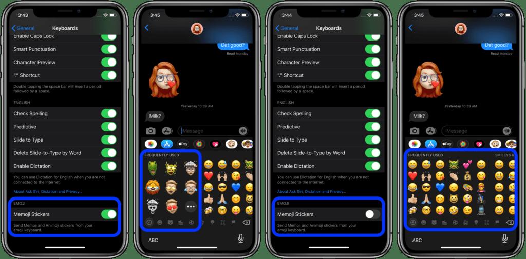 come rimuovere i Memoji dalla tastiera su iOS 2