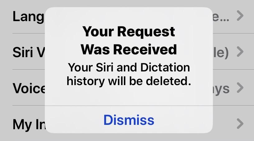 Rimuovere registrazioni Siri