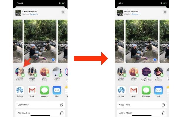 Personalizzare la barra di condivisione su iPhone iMessage