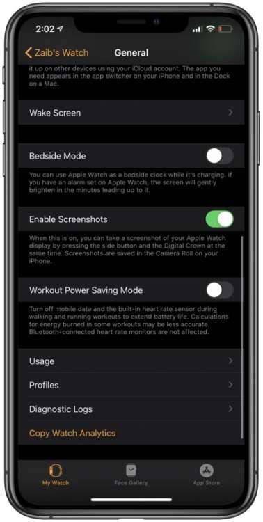 Disattivare screenshot su Apple Watch tramite iPhone.
