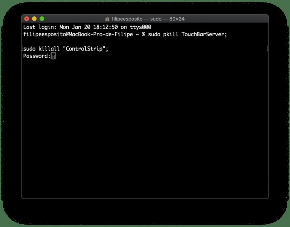 La TouchBar del Macbook non funziona terminale