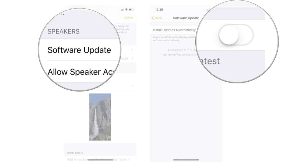 Come aggiornare l'Homepod disabilitare download automatico