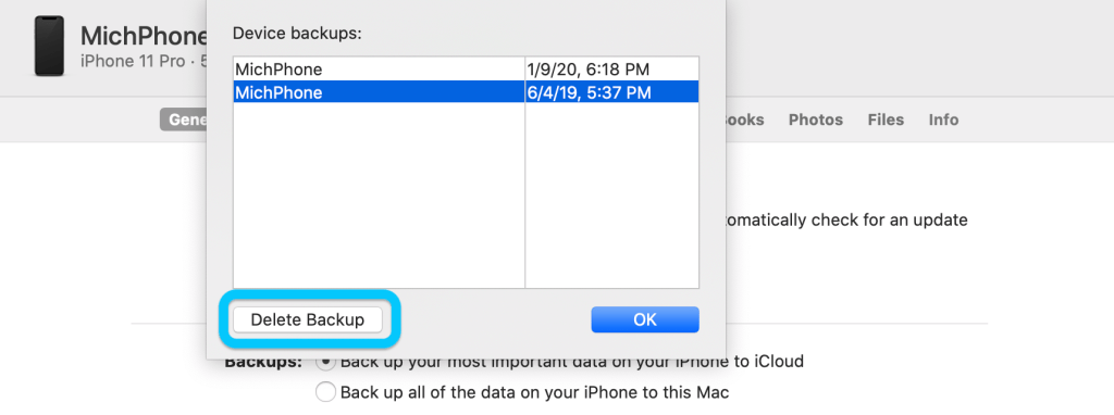 eliminare i backup di iPhone dal Mac