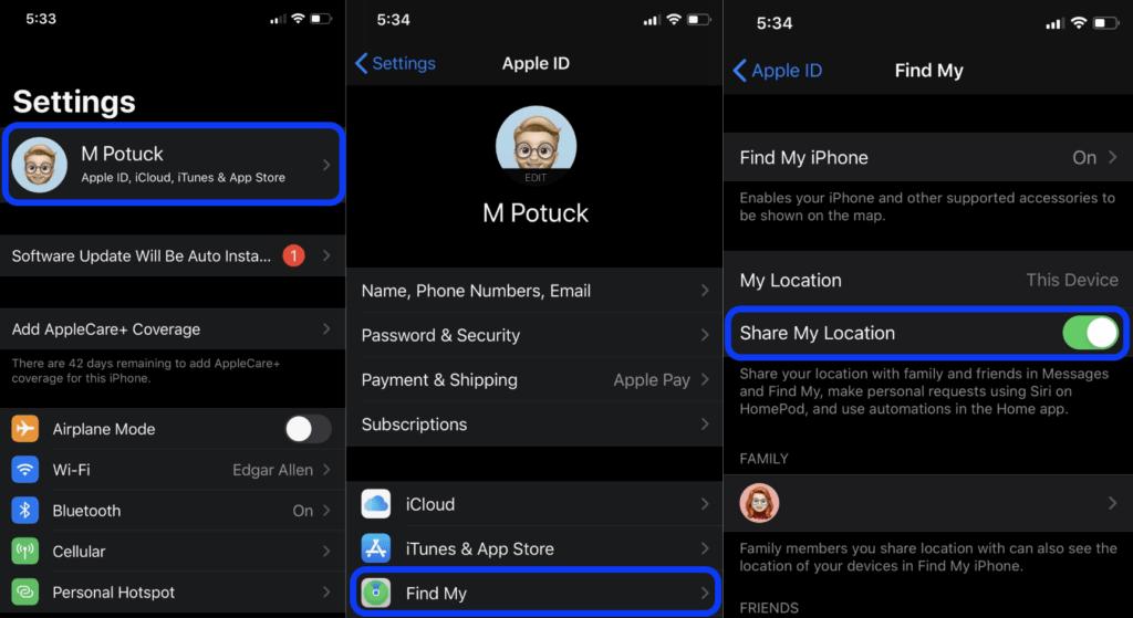 condividere la posizione su iPhone