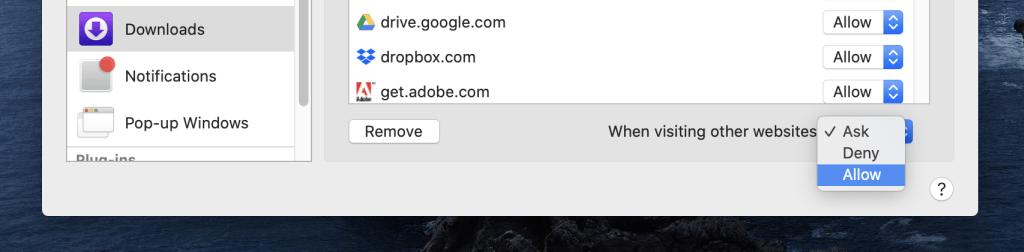 abilitare sempre i download su macOS