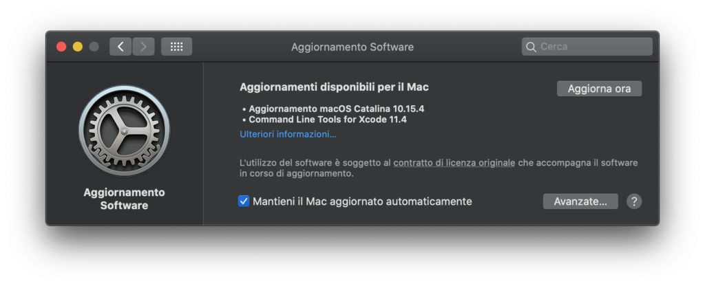 Download di MacOS 10.15.4