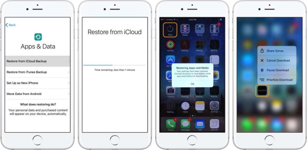 Ripristinare iPhone da backup iCloud