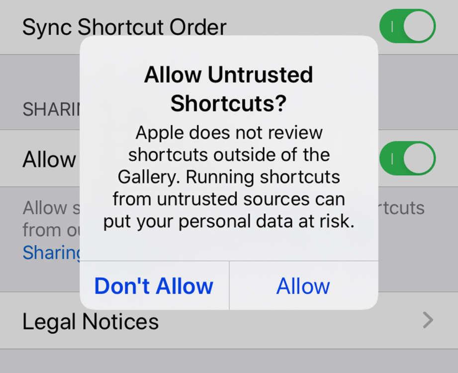 abilitare shortcuts non attendibili 4