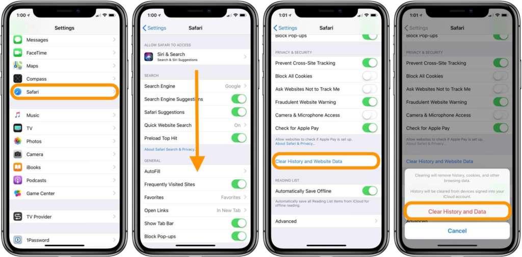 svuotare le cache su iPhone e iPad Safari