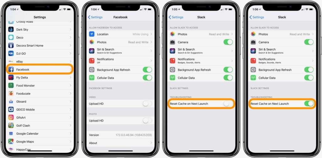 svuotare le cache su iPhone e iPad di app di terze parti