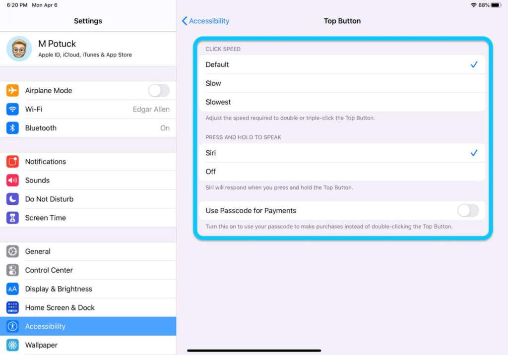 Personalizzare il pulsante dell'iPad2