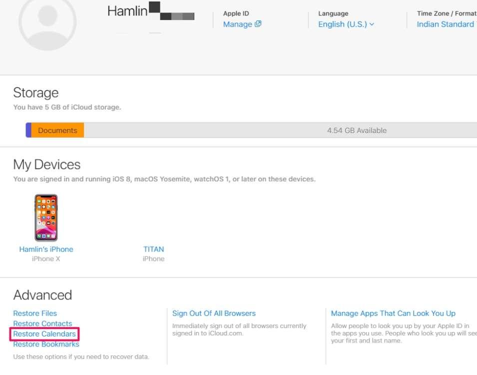 ripristinare calendari persi da iCloud 3