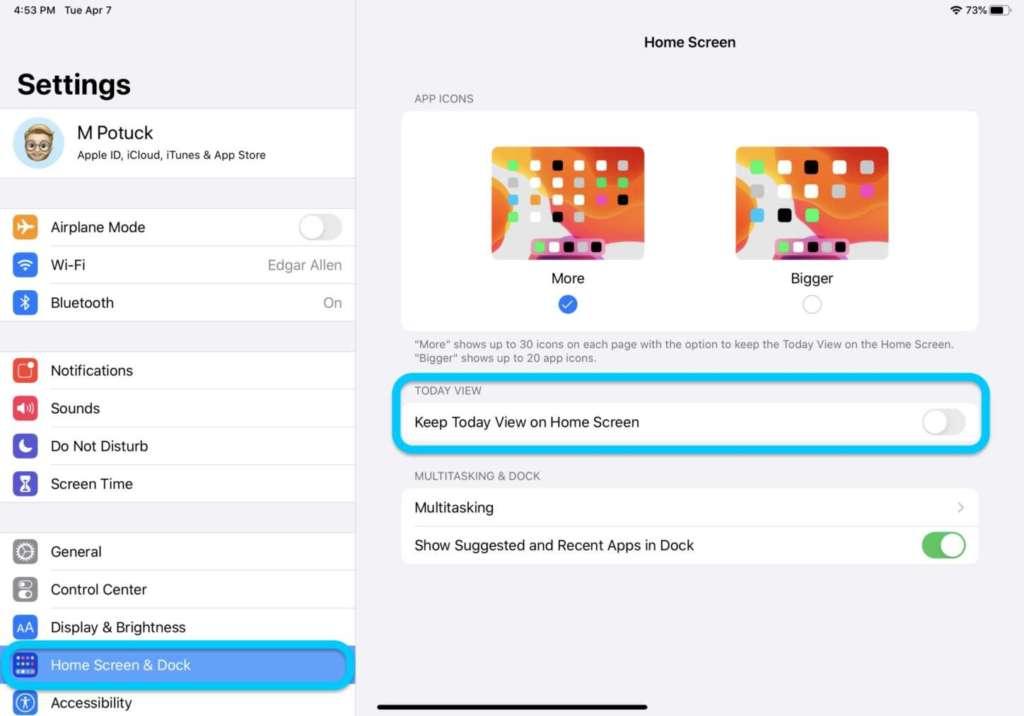 vedere i widgets nella homescreen dell'iPad 1