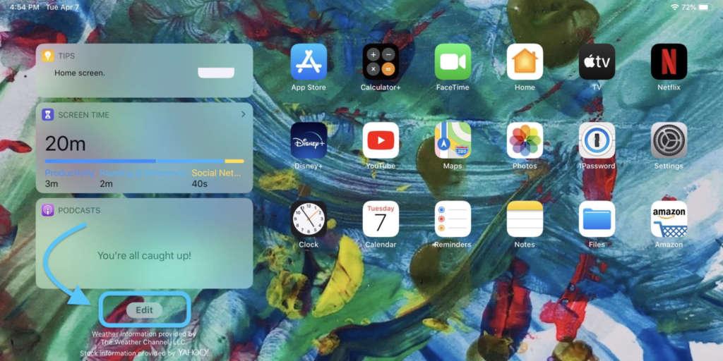 vedere i widgets nella homescreen dell'iPad 2