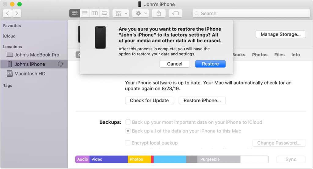 Ripristinare l'iPhone con il Mac2