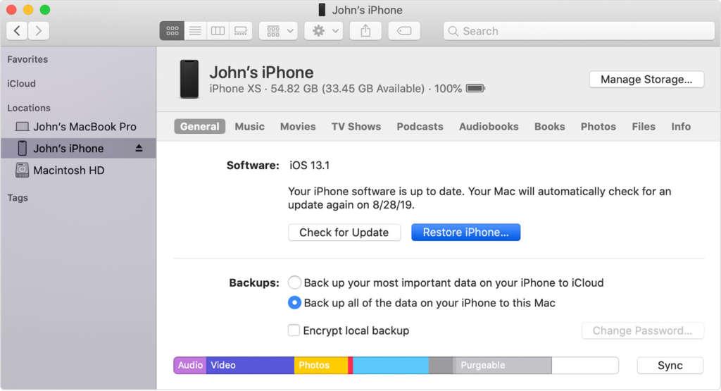 Ripristinare l'iPhone con il Mac1
