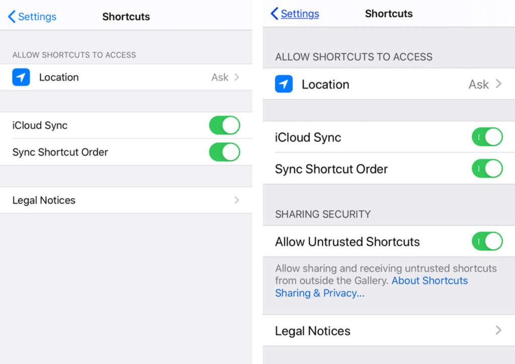 abilitare shortcuts non attendibili 2