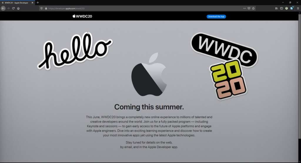 il virtual WWDC20 sarà a Giugno