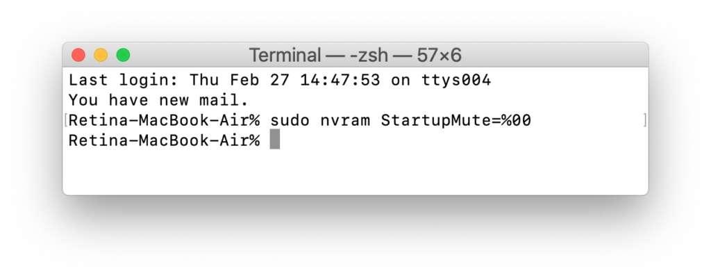 Abilitare il bong iniziale sul Mac: terminale