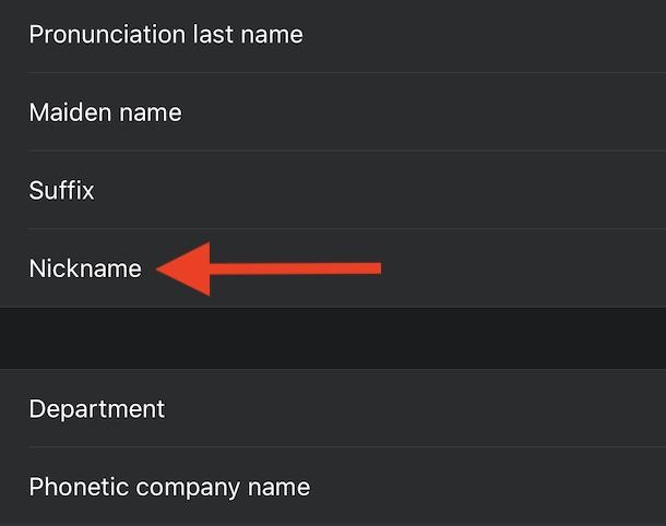 aggiungere un nickname ai contatti su iPhone 2