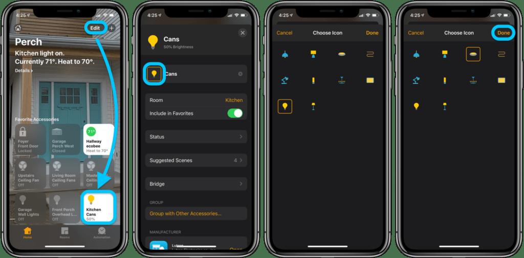 Cambiare le icone nell'app Casa 1