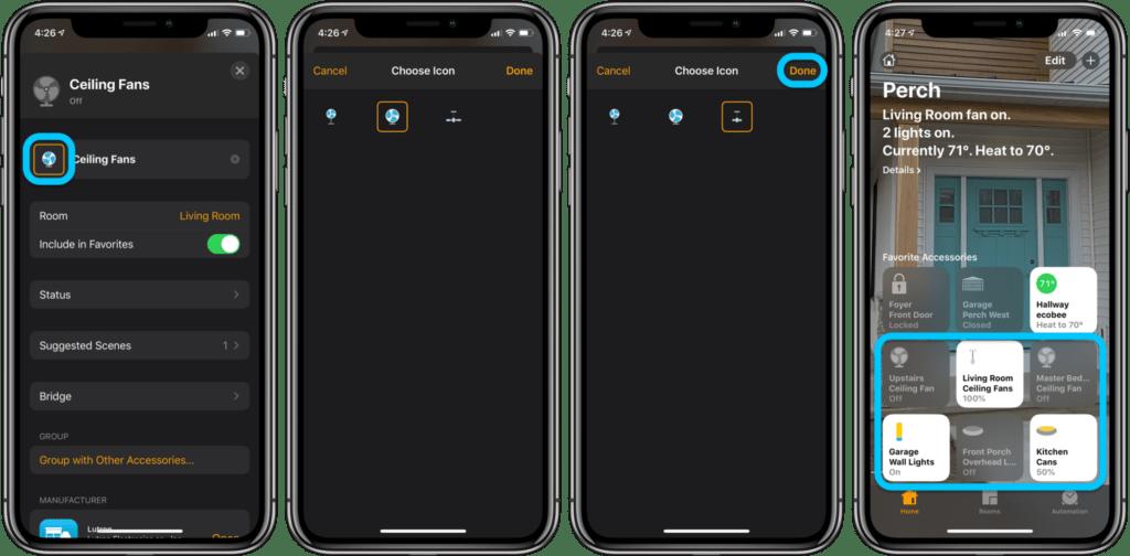 Cambiare le icone nell'app Casa 2
