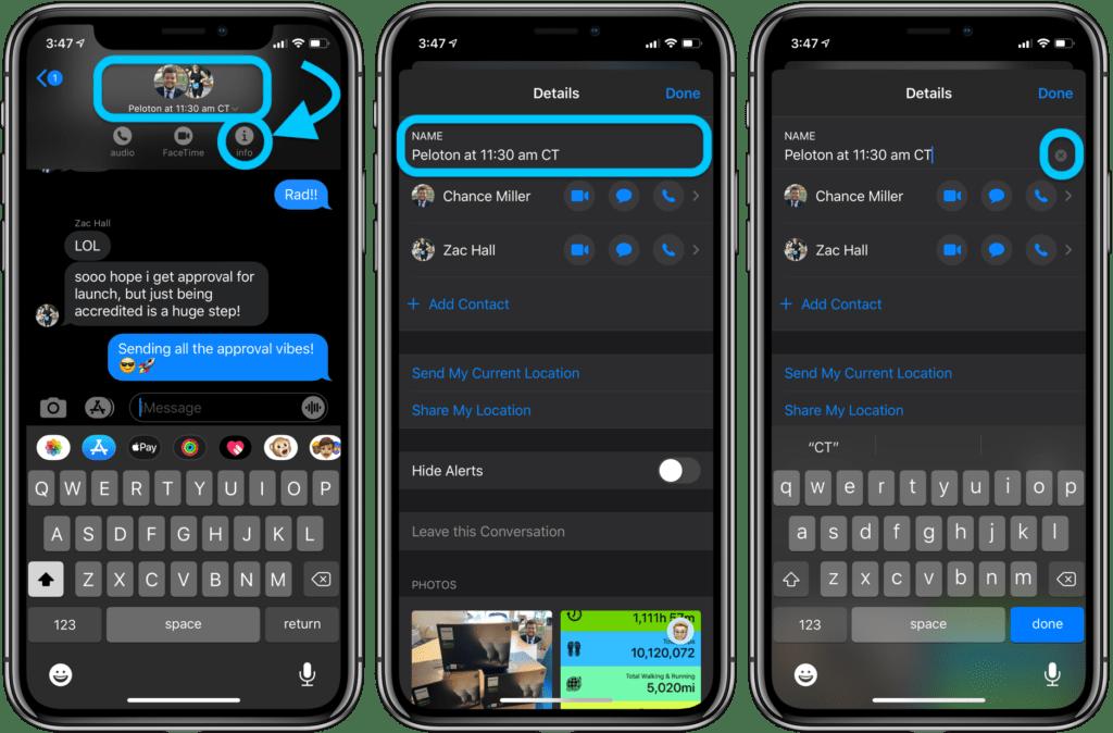 rinominare un gruppo iMessage su iPhone