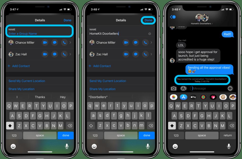 rinominare un gruppo iMessage su iPhone e iPad