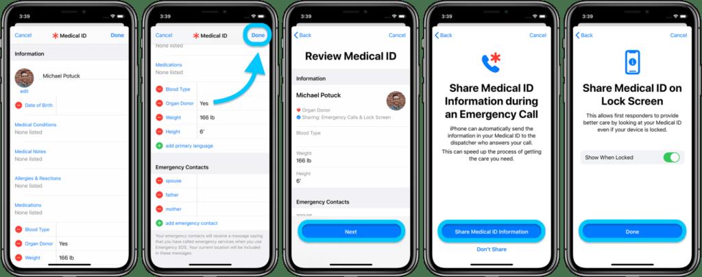 Aggiornare informazioni mediche su iPhone 2