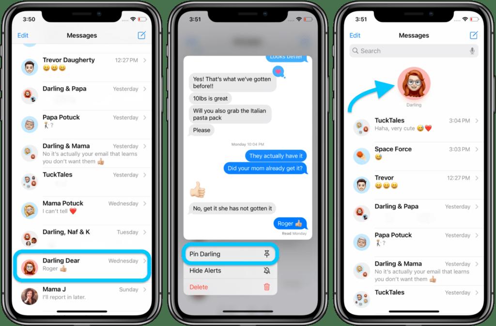 Mettere una chat in evidenza su iMessage 1