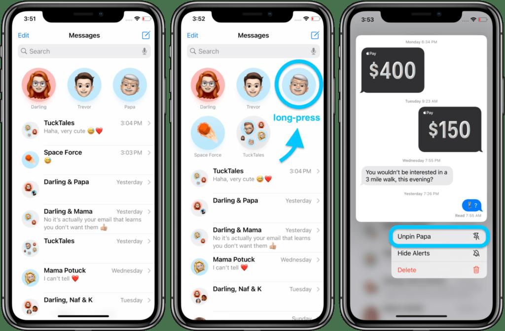 Mettere una chat in evidenza su iMessage 2